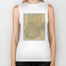 Vintage Map of New Orleans Louisiana (1893) Biker Tank