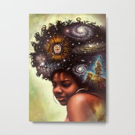 Black woman with the universe in her hair - titled: The Universe Within US Metal Print