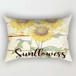 Country Sunflowers on wood Rectangular Pillow