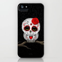 Adorable Red Day of the Dead Sugar Skull Owl iPhone Case