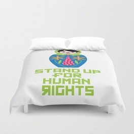 Stand for Human Rights—Male Nesting Doll Duvet Cover