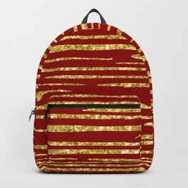 Gold and red abstract lines pattern Backpack