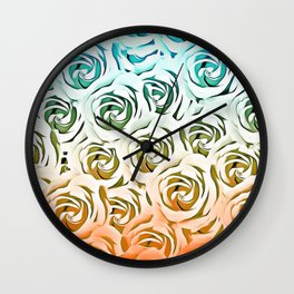 blooming rose pattern texture abstract background in blue and pink Wall Clock