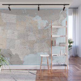 High detail map of the Usa with roads, Keane - ORDER PRINTS IN SIZE XL (small labels) Wall Mural