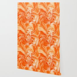 Orange Monochromatic Flower Wallpaper