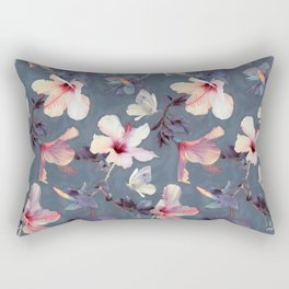 Butterflies and Hibiscus Flowers - a painted pattern Rectangular Pillow