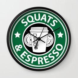 Squats and Espresso Logo Wall Clock