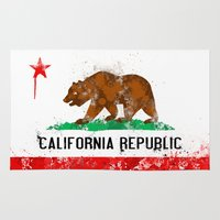 flag Area & Throw Rugs featuring California Flag by Evan