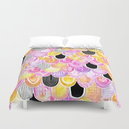 Citrus, Cotton Candy & Licorice Watercolor Scales Duvet Cover
