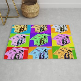 Poster with dollars house in pop art style Rug