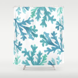 Blue Ombre Coral Shower Curtain