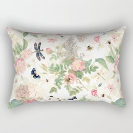 Vintage & Shabby Chic - Botanical Flower Roses Garden Rectangular Pillow