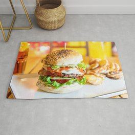 Enjoy Your Burger, Tasty Juicy American Beef Burger, Fast-Food Restaurant, Food Photography Rug