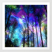 decal Art Prints featuring fantasy sky by haroulita