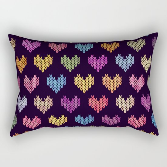 Colorful Knitted Hearts III Rectangular Pillow