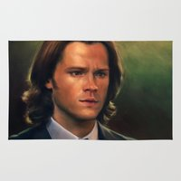 sam winchester Area & Throw Rugs featuring Sam Winchester from Supernatural by Annike