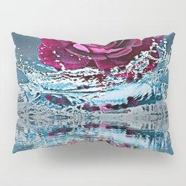 PURPLE ROSE FALLING IN  POND WATER Pillow Sham
