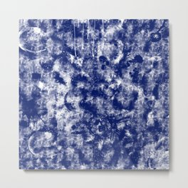 Blue White Abstract Metal Print