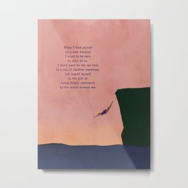 Dive All In Woman Cliff Jumping with Pink Horizon Illustration Metal Print