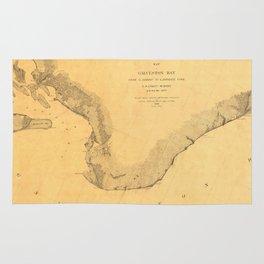 Map of Galveston Bay 1851 Rug
