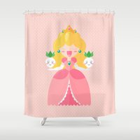 peach Shower Curtains featuring Peach by Khatii