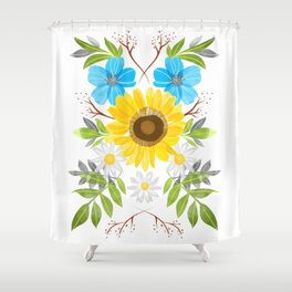 sunflower symmetry Shower Curtain