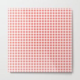 Grid Pattern 312 Coral Metal Print