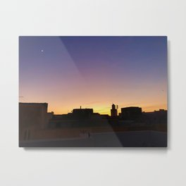Indigo Sunset with Crescent Moon, Essaouira, Morocco Metal Print