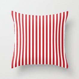 Vertical stripes - red and white Throw Pillow