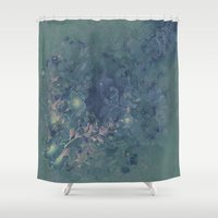 vintage floral Shower Curtains featuring Vintage floral by nicky2342