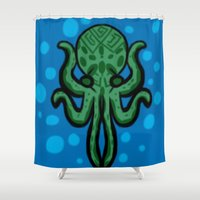 cthulhu Shower Curtains featuring Cthulhu by kelseycadaver