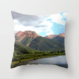 Red Mountains of the 1880's Gold Rush Throw Pillow