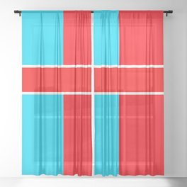 Team Colors 6..red,light blue Sheer Curtain