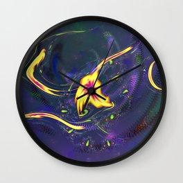 Yellow Amoebas with Ribbons 0001c Wall Clock
