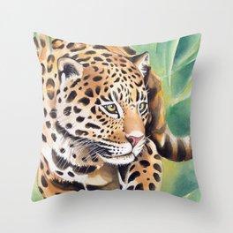 Jaguar Big Cat Prowl Watercolor Ink Art Throw Pillow