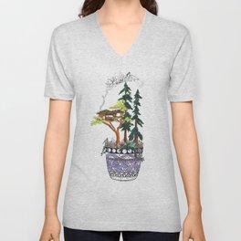 Forest Tree House - Woodland Potted Plant Unisex V-Neck