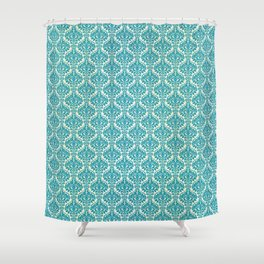 Teal and Ecru Damask Shower Curtain
