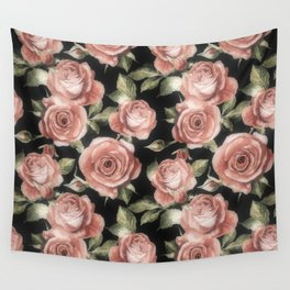 Classic Pink Roses On Black Wall Tapestry