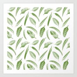 Leaf Pattern - Green Art Print