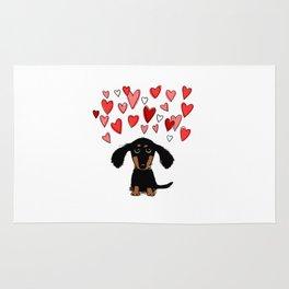 Cute Dachshund Puppy with Valentine Hearts Rug
