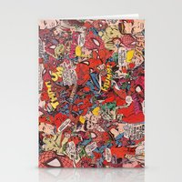comic book Stationery Cards featuring Spiderman comic book collage by vanityfacade