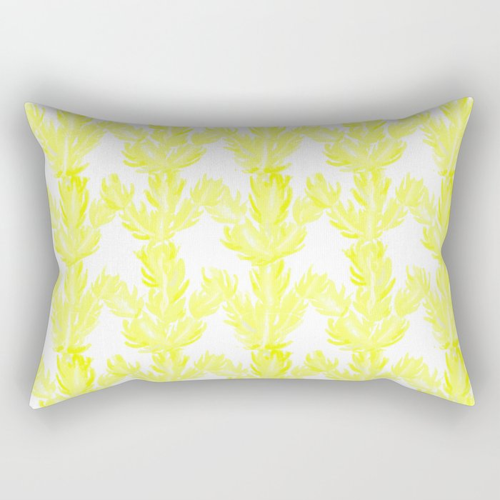 Yellow Succulent Pattern Rectangular Pillow