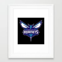 nba Framed Art Prints featuring NBA - Hornets by Katieb1013