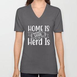 Funny Herd Design For Farm Animal Lovers, Farming Gift design Unisex V-Neck