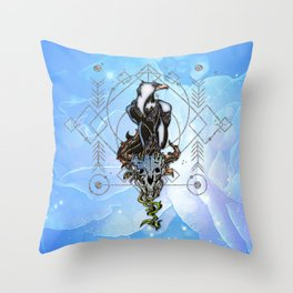 Awesome eagle with skull Throw Pillow