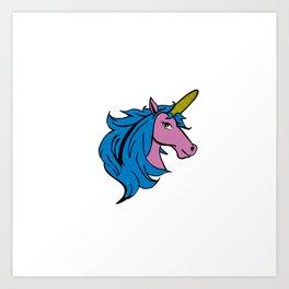 Cartoon Unicorn on the Cob - Blue Cornstalk pun Art Print