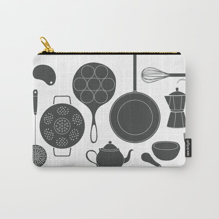 Kitchen Tools (black on white) Carry-All Pouch