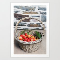 Cherries in a Basket on a Wooden Table Art Print