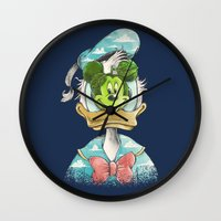 magritte Wall Clocks featuring duck magritte by Alan Maia