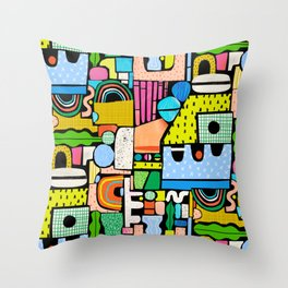Color Block Collage Throw Pillow